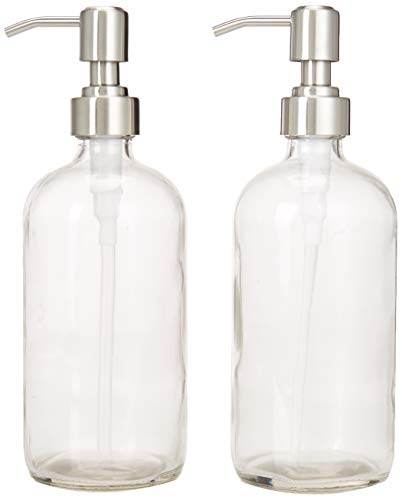 2-Pack Dispenser Pump Bottles for Kitchen and Bathroom - Dish Soap, Hand Soap, Shampoo, Lotion, Mouthwash, and More - Rust Resistant Stainless Steel Pump - Heavy 17.5 Ounce Glass Bottle