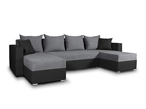Wohnlandschaft mit Schlaffunktion Beno - U-Form Couch, Ecksofa mit Bettkasten, Couchgranitur mit Bettfunktion, Polsterecke, Big Sofa, Polstergarnitur (Schwarz + Dunkelgrau (Cayenne 1114 + Enjoy 23))