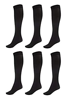 DARESAY Women Trouser Socks with Comfort Band Stretchy Spandex Opaque Knee High Black Queen size - 6-Pack