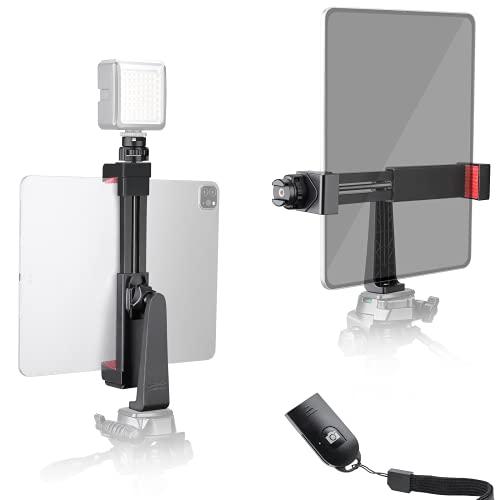 Zeadio Soporte Trípode Tableta Smartphone, adaptador montaje abrazadera para tableta, se adapta a iPad,iPad Pro, Microsoft Surface y todas las tabletas, iPhone, Samsung y la mayoría de los teléfonos