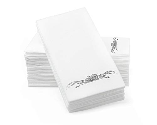 Silver Foil Stamped Airlaid Paper Dinner Napkins – 1/6 Fold 12'x17' Disposable Guest Hand Towels with Absorbent, Linen-Like Feel for Weddings, Receptions, Parties and Bathroom (Silver, 100 Count)