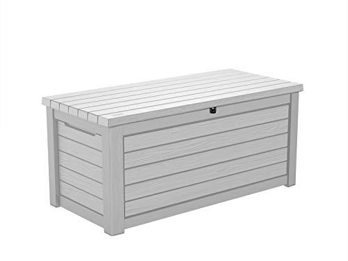 Koll Living Gartenbox / Aufbewahrungsbox 623 Liter, schwarz, weiß oder braun - trockener & belüfteter Stauraum - mit Gasdruckfedern - Deckel bis zu 272 kg belastbar (Weiß)