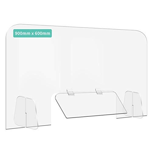 [飛沫防止]パーテーション アクリル板 高透明度 デスク用 コロナウイルス 対策 開閉自由 角丸加工 組立式 (900x600x5mm 窓450x200mm)
