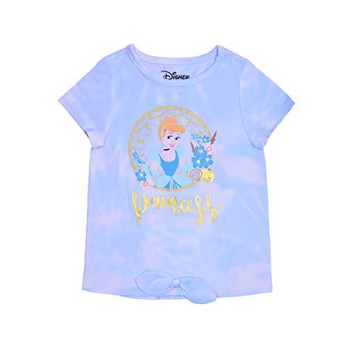 Disney Princess Girl's Cinderella Short Sleeves Tee Shirt for Kids, Tie Dye Blue Size 3T