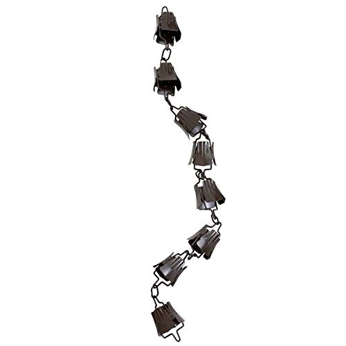 YARNOW 1m Regenkette Kupfer Rain Chain Monarch Regen Ketten Fallrohrkette Regenwasserkette Garten Windspiele Glockenspiel für Fallrohr Regenrinne Dachrinne