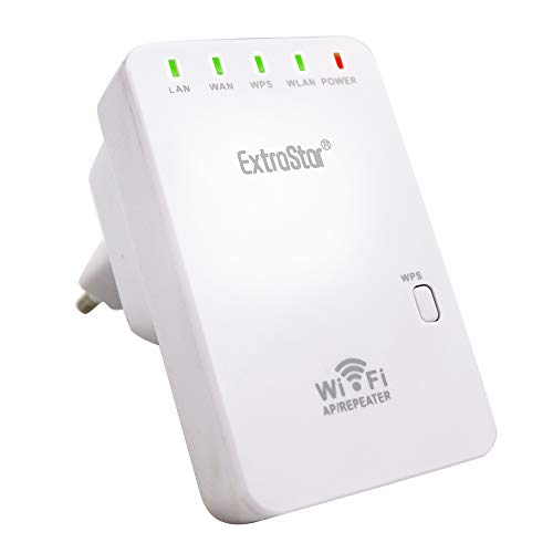EXTRASTAR Ripetitore WiFi Wireless, WiFi Extender N300 Range Extender WiFi, 300Mbps 2.4GHz, Access Point AP, Compatibile con Tutti i Modem Router WiFi.