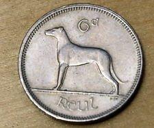 1962 Ireland Sixpence -- Irish Wolfhound & Celtic Harp -- Wedding Coin -- Luck of the Irish