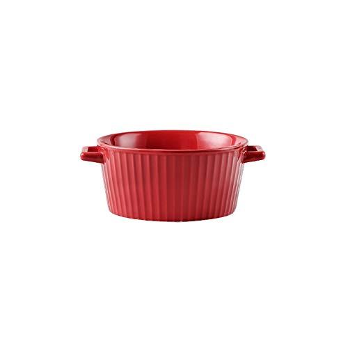 Simple binaural soup bowl, large household ceramic bowl, creative instant noodle bowl, Japanese-style noodle bowl with lid, large soup bowl with tableware (Color : Red, Size : 14.5cm)