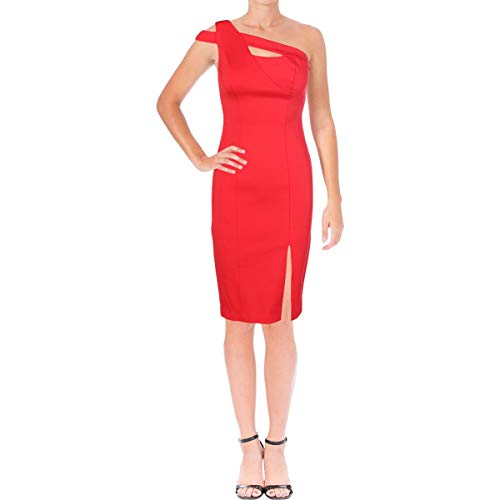 Price comparison product image Aidan by Aidan Mattox Womens Fitted One Shoulder Cocktail Dress Red 6