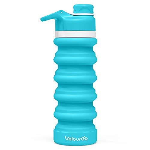 Valourgo Bpafree Collapsible Water Bottle - Reusable Water Bottle For Gym Bike Running Cycling 550 Milliliter 19 Ounce Aqua Blue Sports Water Bottle