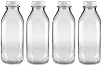 The Dairy Shoppe 1 Qt Glass Milk Bottle with Cap. 4 Pack Square Style 32 Oz