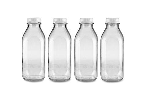 The Dairy Shoppe 1 Ltr. Glass Milk Bottle with Cap. 4 Pack Square Style 33.8 Oz