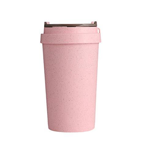 Mug Tasses A Café,La Paille De Blé Rose 400Ml Anti-Fuite Double Paroi Isolés De Préservation De Chaleur Tasse Réutilisable pour Le Thé, Le Café Ou Le Lait, pour Les Boissons Chaudes Et Froide