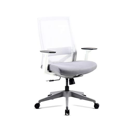 Mc Haus VULCANO - Silla Oficina Ergonómica Regulable con Ruedas de color Blanco, Silla ajustable con resposabrazos para Despacho 60x52x100-110cm
