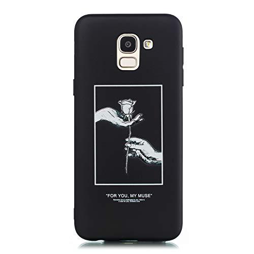 Everainy Kompatibel für Samsung Galaxy J6 2018 Hülle Silikon Bumper Gummi Cover Hüllen Handyhülle Stoßfest TPU Gel Case Stoßstange Schwarz Schutzhülle (Rose)