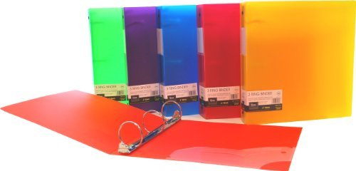 Filexec 3 Ring Binder, 2 Inch Capacity, Frosted, Letter Size, Pack of 6, Blueberry, Strawberry, Grape, Lemon, Lime, Tangerine (50161-6494)