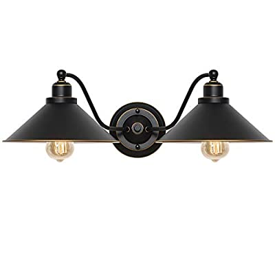 Industrial Bathroom Vanity Light 2-Light Gooseneck Wall Sconce Fixture with Black Metal Lampshades, Vintage Edison Wall Lamps for Bedroom Kitchen Living Room Porch Hallway Mirror Cabinets Dressing Tab