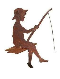 Rost Figuren für den Garten - Kleiner Angler (Kantenhocker) - Höhe 30cm - Dekofigur/Gartendekoration
