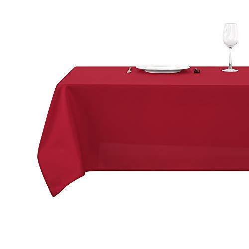Deconovo Tischdecke Wasserabweisend Tischwäsche Lotuseffekt Tischtuch 130x280 cm Rot