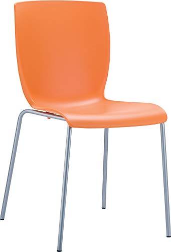 CLP Chaise de Jardin/de Cuisine empilable Mio Aluminium, résistance à l´Eau et Rayons Ultra-Violets, capacité de Charge Max 160 kg Orange