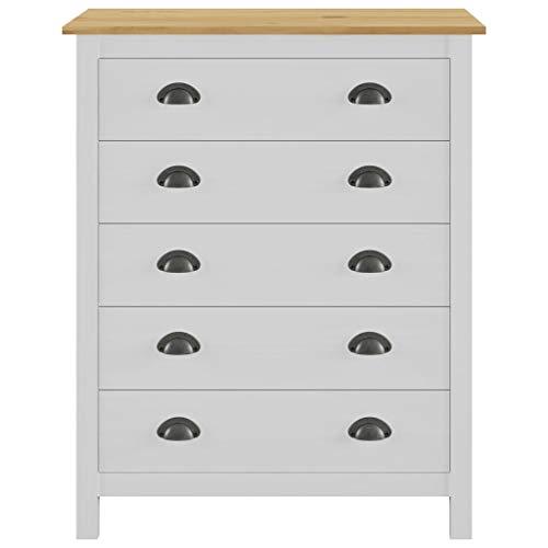 Mueble de almacenamiento con 5 cajones, cómoda blanca Sinfonier de madera de pino maciza para salón, entrada, dormitorio de dormitorio, 79 x 40 x 96,5 cm, color blanco y madera