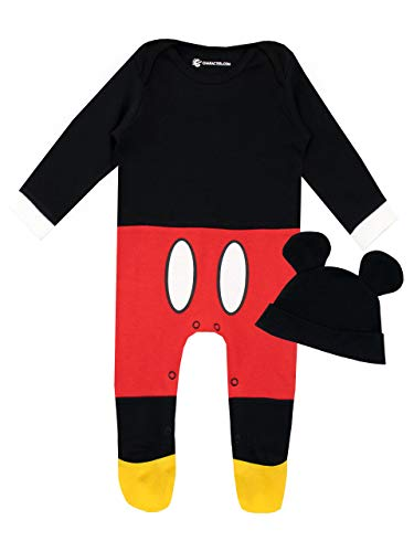 Disney Baby Boys' Mickey Mouse Footies and Hat Set Size 18M Red