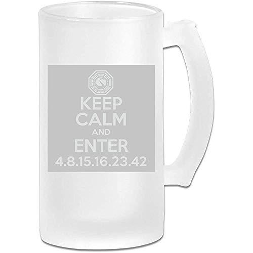 Taza de jarra de cerveza de vidrio esmerilado impresa de 16 oz - Mantenga la calma e ingrese a la Iniciativa Dharma Lost Light - Taza gráfica