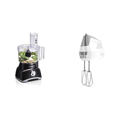 Hamilton Beach 8-Cup Compact Food Processor & Vegetable Chopper for Slicing, Shredding, Mincing, and puree, 450 Watts, Black (70740) & BLACK+DECKER Lightweight Hand Mixer, White, MX1500W