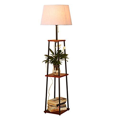 GJIF - Stehlampe Stehleuchte aus massivem Holz mit Tisch Standleuchte Innenbeleuchtung Antik - Fußschalter (E27) (Farbe : Walnut color)