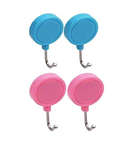 Lukzer (Set of 4) Multi-Purpose Round Magnetic Hooks Can Be Placed Anywhere in House On Microwave, Oven, Refrigerator (Pink & Blue)