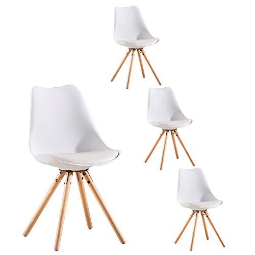 LOVEMYHOUSE Pack de 4 sillas de Comedor Oficina Sillas con Madera,Cocina Nórdico con Asiento Tapizado y Las piernas de Haya Piernas para Comedor/Sala de Estar/Café/Restaurante(Blanco)