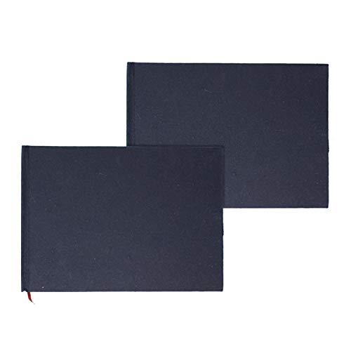 Artway Indigo - Handgefertigtes Skizzenbuch (150 g/m²) mit gebundenem Hartcover - A5 Querformat x 2