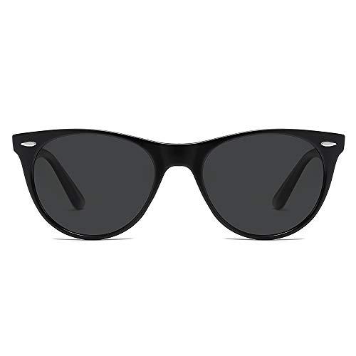 SOJOS Occhiali da Sole Polarizzate UV400 Piccola Retrò Vintage CELEB SJ2076 con Nero Telaio/Grigio Lente