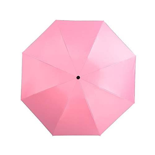 Paraguas plegable para mujer, hombre, resistente al viento, con revestimiento negro, ideal para el sol, para uso en coche de negocios (color: rosa, tamaño: A)