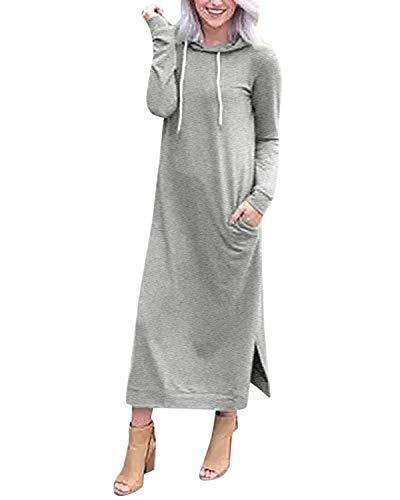 Style Dome Pullover Damen Langarm Casual Kapuzen Longpullover Loose Pullover Kleid Solid Grau-C17169 M