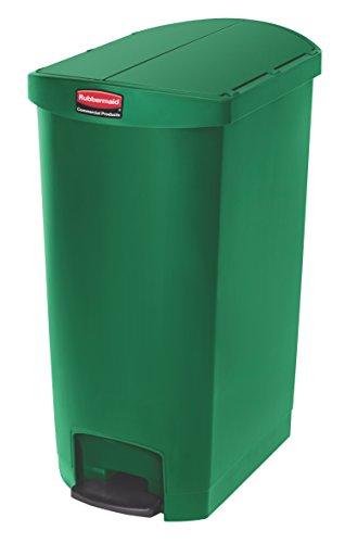 Rubbermaid Commercial Products 1883456 Slim Jim Front Step On - Cubo de basura con pedal (plástico), 68 L, verde, 1