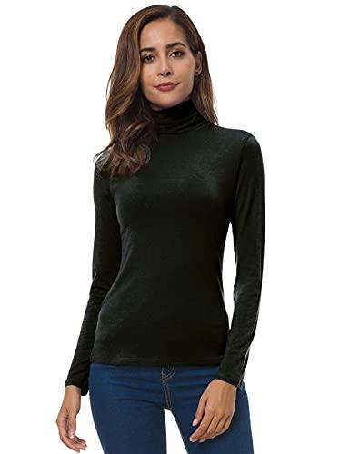 VOBCTY Womens Long Sleeve Turtleneck Lightweight Pullover Slim Shirt Top Black X-Large