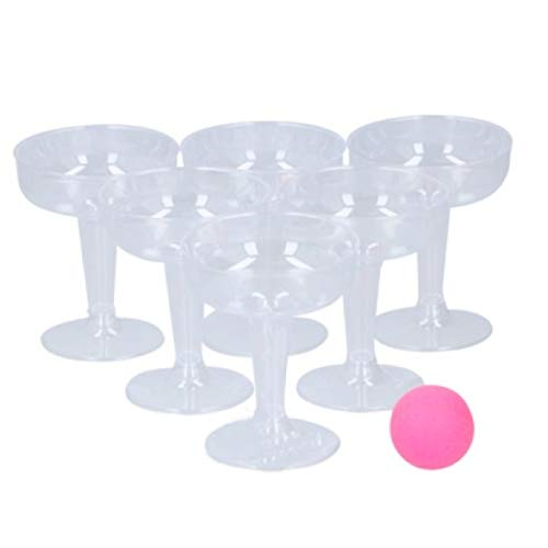 1a-becker Bubbles Pong Trinkspiel Bierpong Partyspiel Spiel Sekt Bier Partygag Pink 14 TLG