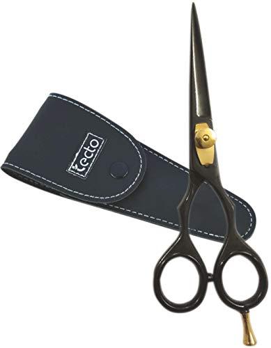 Tijeras de peluquería profesional con tuerca de tensión ajustable, peso ligero de color negro, resultado de corte 100% preciso con funda de piel negra