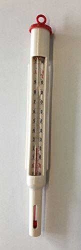 Amarell Thermometer Messbereich 0-100°C mit roter Füllung, Glasthermometer in Kunststoff-Fassung