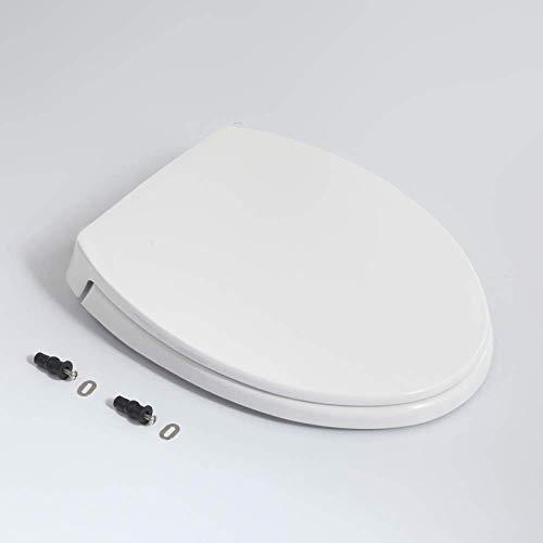 ZHAS WC-Sitz, V-Style-WC-Deckel mit Drop-Mute und Aufsatz, einfach zu montierender Universal-WC-Sitz für den Familiengebrauch Weiß-41~47 cm * 36 cm