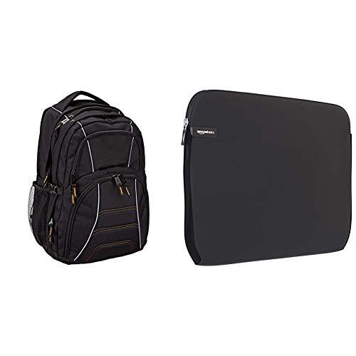 Amazon Basics – Laptoprucksack, geeignet für die meisten 17-Zoll-Laptops (43cm), Schwarz & Schutzhülle für Laptops mit Einer Bildschirmdiagonale von 38,1-39,6cm (15-15,6Zoll)