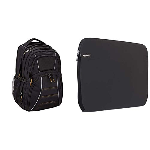 "Amazon Basics - Mochila para ordenador portátil de hasta 17pulgadas (43cm), Negro + NC1303154 - Funda para ordenadores portátiles (15.6""), color negro"