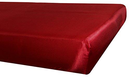 beties Glanz Satin Spannbetttuch ca. 100x200 cm Spannbettlaken anschmiegsam & edel Spannbetttuch mit Gummizug am Rand (Karmin-rot)