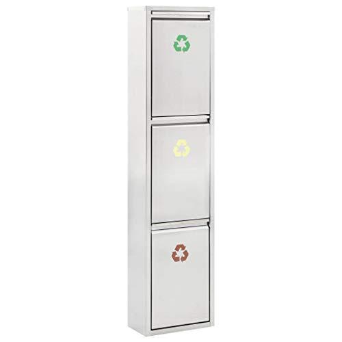 Cubo Basura Reciclaje 3 Compartimentos Vertical Cubetas Extraíbles Separador Basuras Acero Inoxidable Colores Símbolos Identificar Residuos