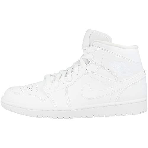 Nike Air Jordan 1 Mid, Scarpe da Basket Uomo, Bianco (White/White/White 129), 44.5 EU