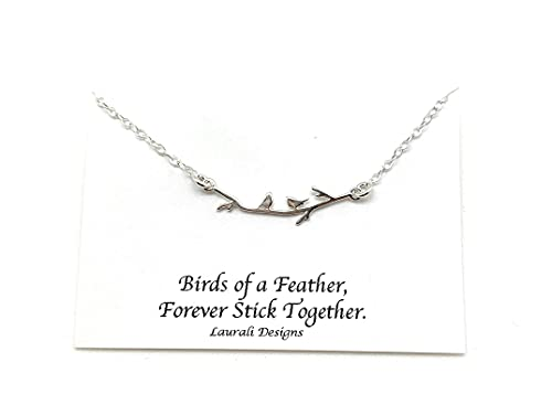 Tiny Birds on Branch Sterling Silver Charm Necklace Wren