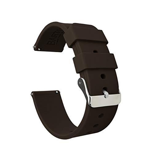 BARTON WATCH BANDS Silikon Schnellverschluß.- Wählen Sie Farbe & Breite (16mm, 18mm, 20mm or 22mm) Schokoladen Braun 22mm Uhren Armband