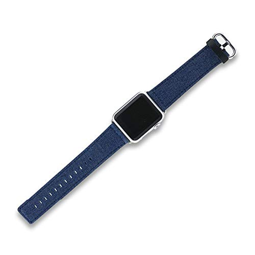 Fhony Correas Compatible con Apple Watch 38Mm 40Mm 42Mm 44Mm Correa de Denim Azul Cuero Auténtico Dentro Reemplazo Sport Wristband para Apple Watch Series 6/5/4/3/2/1,Dark Blue,38/40mm