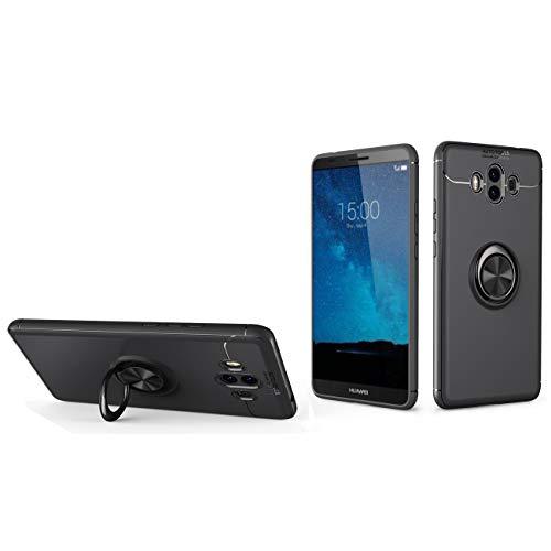 J&H Capa de anel para Huawei Mate 10, capa protetora ultrafina de TPU (poliuretano termoplástico) macia, capa com alça para dedo com anel giratório de 360 graus para Huawei Mate 10